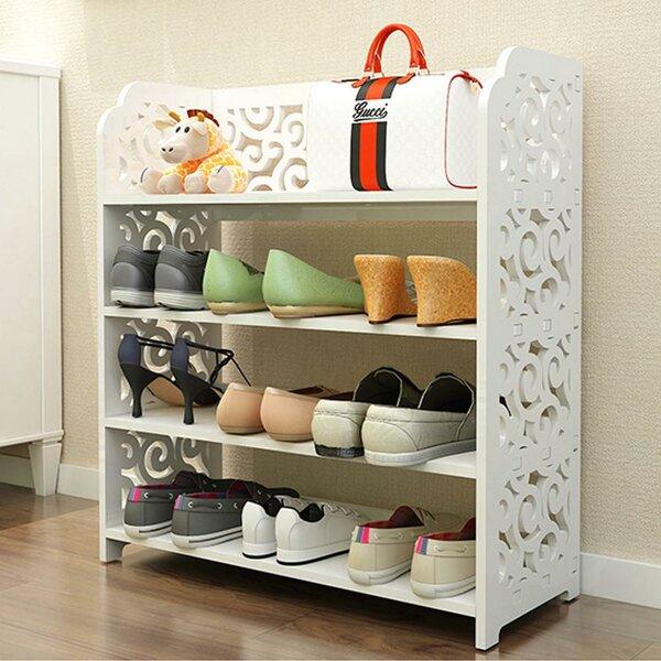 4-Tier Organizer Standing Shelf Space Saving 10 Pair Shoe Rack