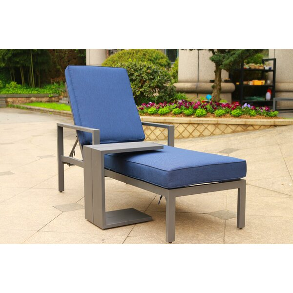 Hearne Outdoor Adjustable Reclining Chaise Lounge with Cushion and Table by Orren Ellis