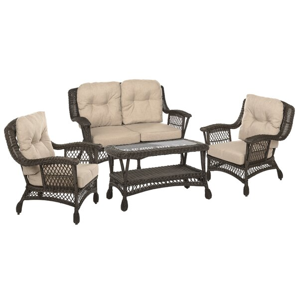 Depew Outdoor Garden Furniture 4 Piece Seating Group with Cushions by Highland Dunes