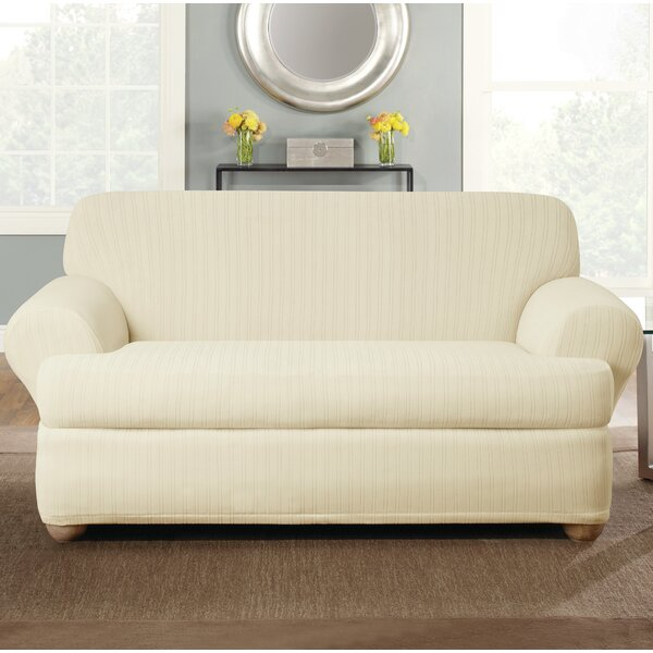 Stretch Pinstripe T-Cushion Loveseat Slipcover by Sure Fit