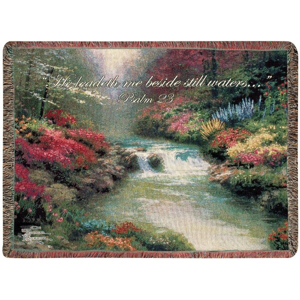 Beside Still Waters Tapestry Cotton Throw by Manual Woodworkers & Weavers