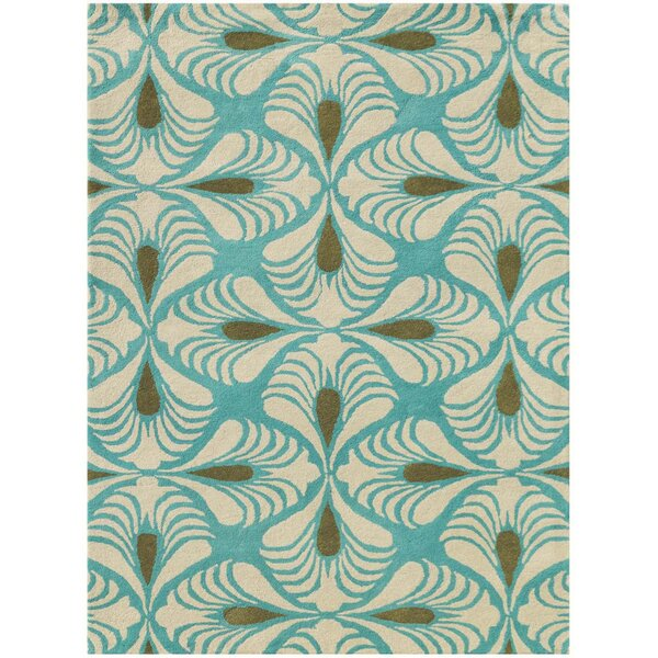 Weese Hand-Tufted Turquoise Area Rug by George Oliver