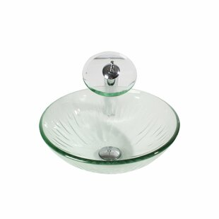 Best Glass Circular Vessel Bathroom Sink with Faucet By Arsumo