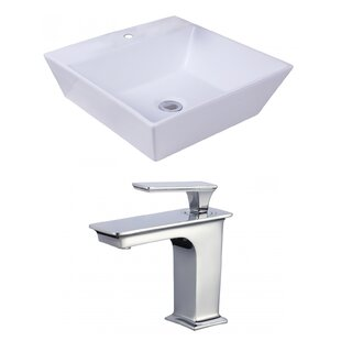 Best Reviews Ceramic Square Vessel Bathroom Sink with Faucet and Overflow By American Imaginations