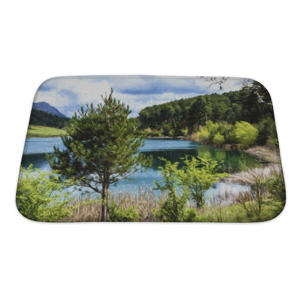 Landscapes Lake Under a Cloudy Sky Bath Rug by Gear New