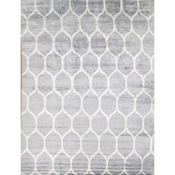 Viscose Hand-Knotted Wool/Silk Gray/Ivory Area Rug by Pasargad NY