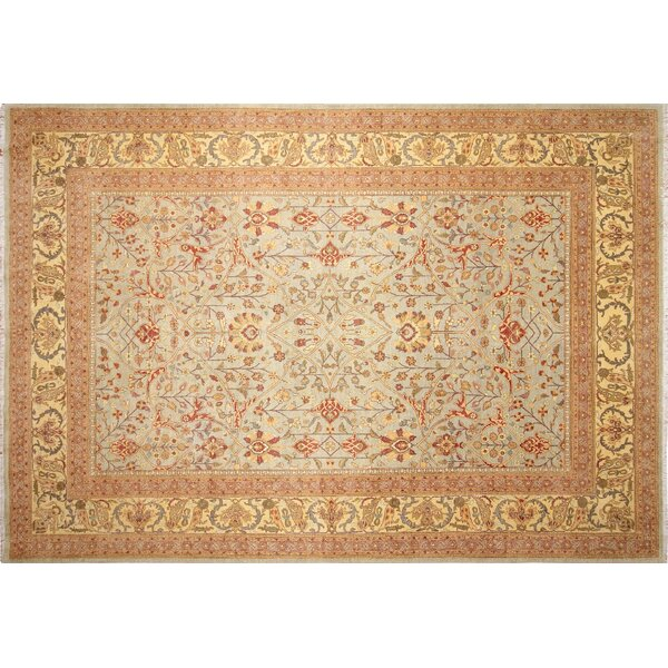 Ankara Aisaule Hand Knotted Wool Light Blue Area Rug by World Menagerie