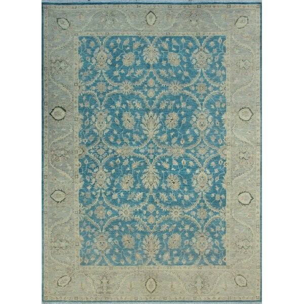One-of-a-Kind Catharine Hand Knotted Wool Blue/Gray Area Rug by Isabelline