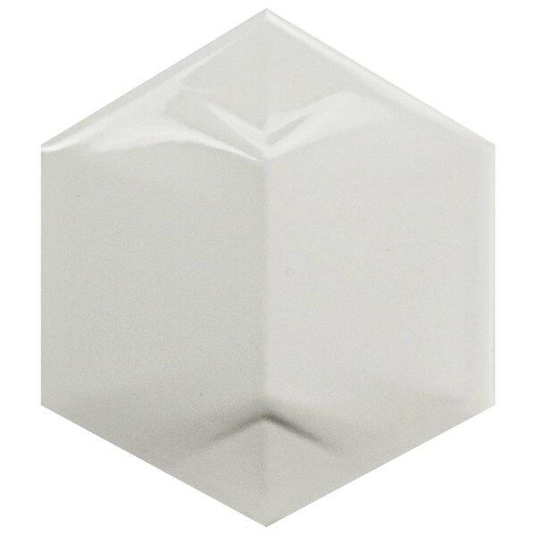 Magie 3D Star 4.25 x 4.875 Ceramic Field Tile in White by EliteTile