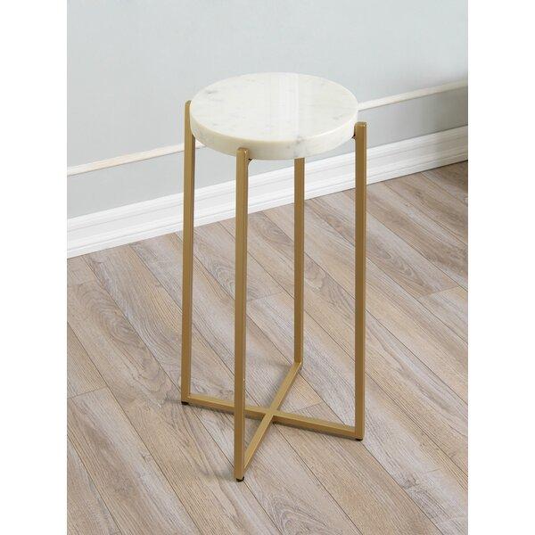 Headrick Marble Top Cross Legs End Table By Everly Quinn
