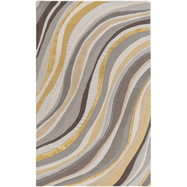 Pena Hand-Tufted Gray/Gold Area Rug by Orren Ellis