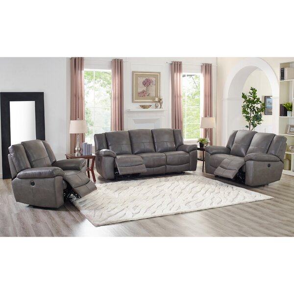 Yelverton Lay Flat Power 3 Piece Leather Reclining Living Room Set by Red Barrel Studio