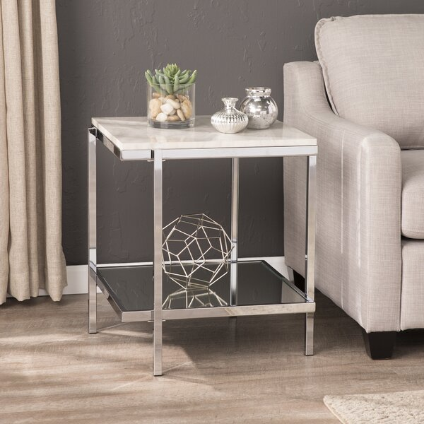 Skipton Faux Marble End Table by Everly Quinn