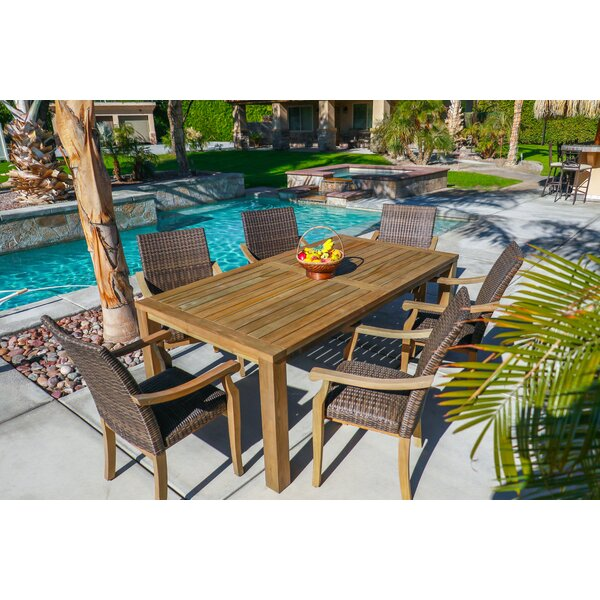 Rocha Outdoor 7 Piece Teak Dining Set with Cushions by Rosecliff Heights