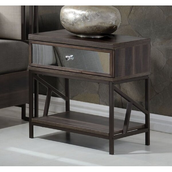 South Ferry Metal Base 1 Drawer Nightstand by Union Rustic