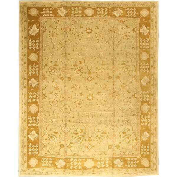 One-of-a-Kind Turkish Hand-Knotted 1950s Oushak Gold 14'2 x 17'6 Wool Area Rug