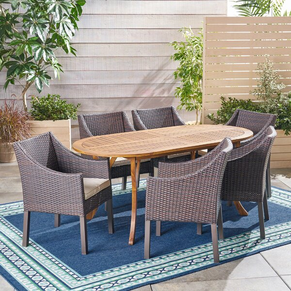 Lincolnwood Outdoor 7 Piece Dining Set with Cushions by Bungalow Rose