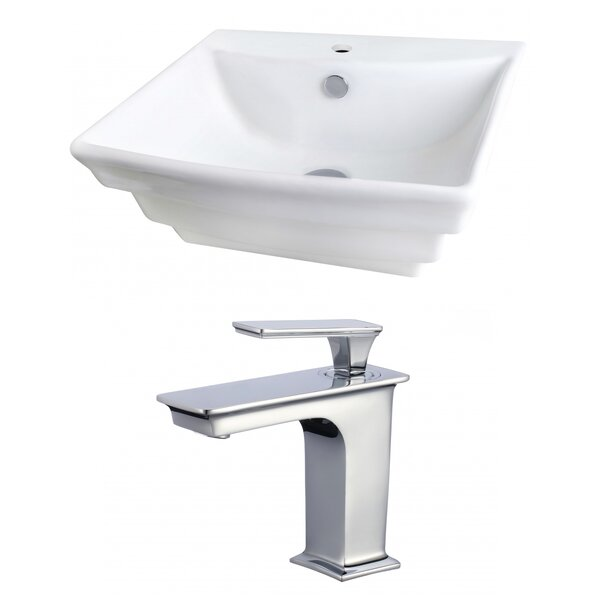 Ceramic 20 Wall Mount Bathroom Sink with Faucet and Overflow by Royal Purple Bath Kitchen