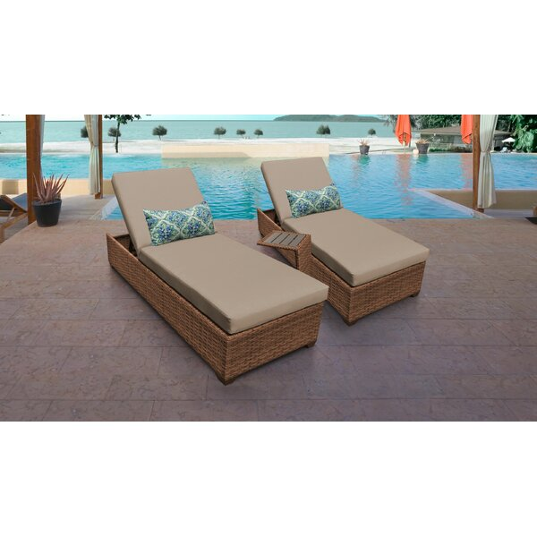 Medina Reclining Sun Lounger Set with Cushion and Table (Set of 2) by Rosecliff Heights