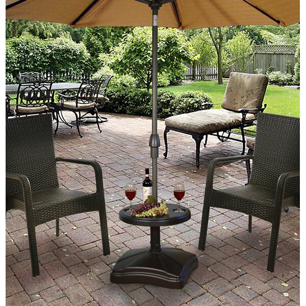 Bryana Rolling Resin Free Standing Umbrella Base with Table Accessory by Freeport Park