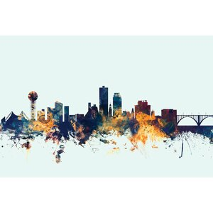 Skyline Series: Knoxville, Tennessee, USA Graphic Art on Wrapped Canvas in Blue by East Urban Home