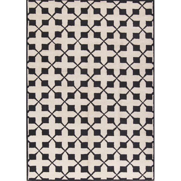 Melissa Oushak Hand-Tufted Wool Beige/Black Area Rug by Astoria Grand