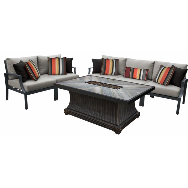 Brodeur Outdoor Aluminum 6 Piece Sectional Seating Group with Cushion by Canora Grey Canora Grey