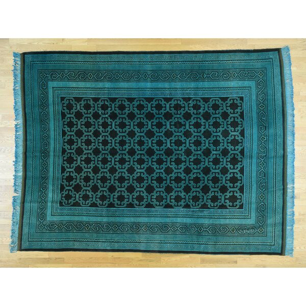 One-of-a-Kind Beauchemin Overdyed Vintage Handwoven Teal Wool Area Rug by Isabelline