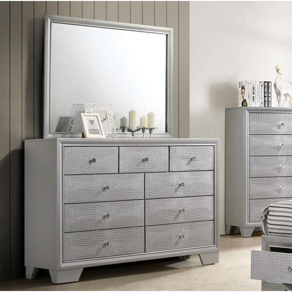 Sciortino 9 Drawer Double Dresser with Mirror by House of Hampton