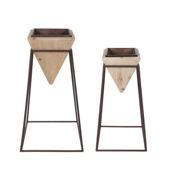 Paulina Geometric 2-Piece Wood and Metal Pot Planter Set by Bungalow Rose