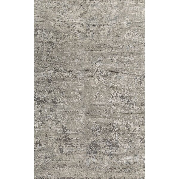One-of-a-Kind Abstract Hand-Knotted 11'9 X 17'9 Wool Charcoal Area Rug