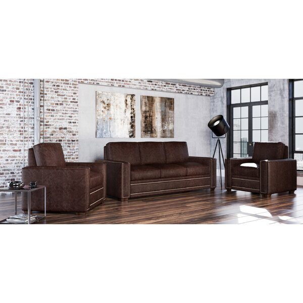 Dallas 3 Piece Leather Living Room Set by Westland and Birch Westland and Birch