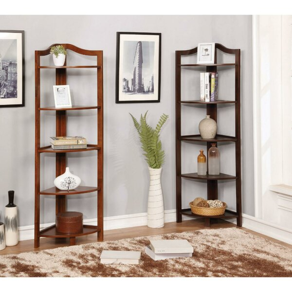 Lecroy Transitional Wooden Open Frame Corner Bookcase by Charlton Home