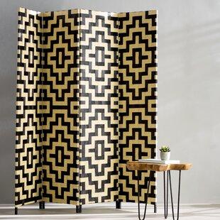 Compare prices Benbrook 4 Panel Room Divider ByBungalow Rose