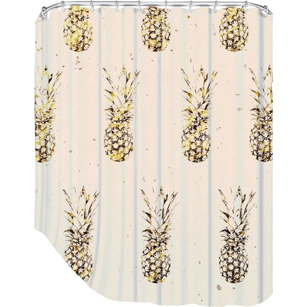 Peach & Gold Pineapples Shower Curtain by Bay Isle Home