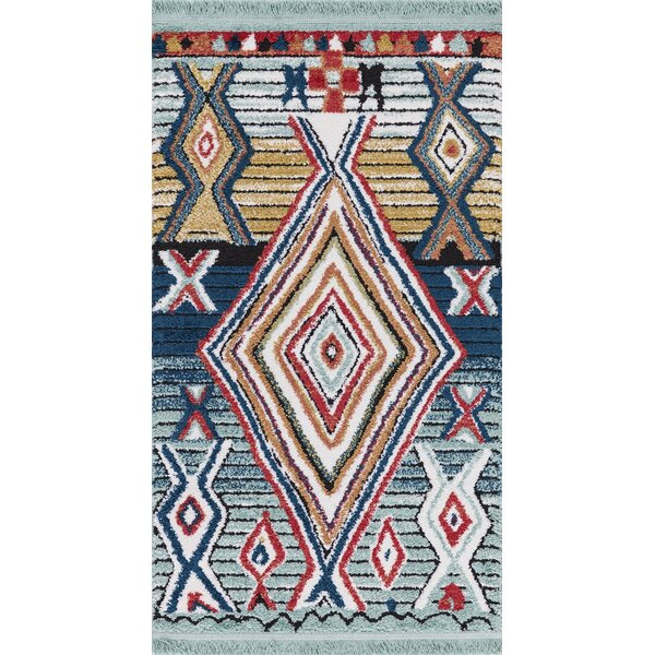 Hervey Blue/Red Area Rug by Bloomsbury Market