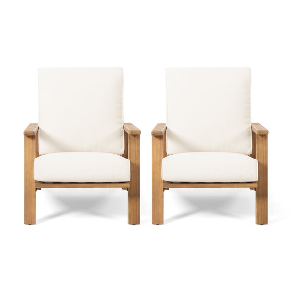 Newport Outdoor Patio Chair with Cushions (Set of 2) by George Oliver