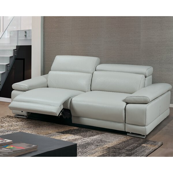 New Trendy Strafford Leather Reclining Sofa by Latitude Run by Latitude Run