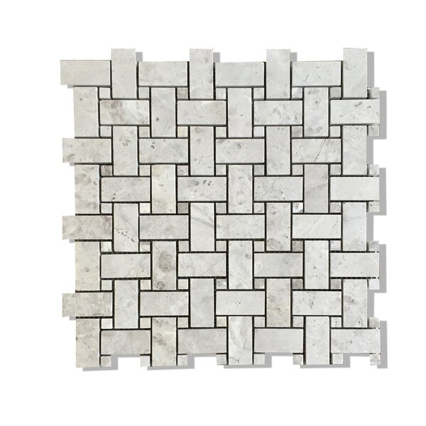 Silver Galaxy Basket Weave Mosaic Polished with Silver Galaxy Dot by Seven Seas