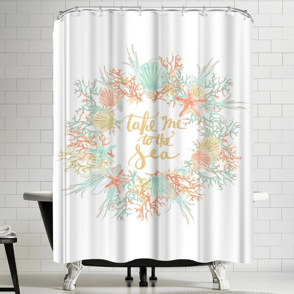 Jetty Printables Take Me to the Sea Coastal Shower Curtain by East Urban Home