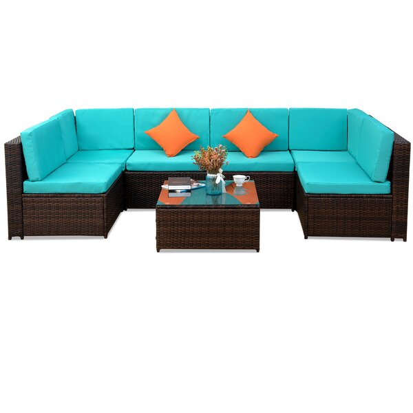 Patio Furniture 7 Piece Sectional Seating Group with Cushion (Set of 7) by Bay Isle Home