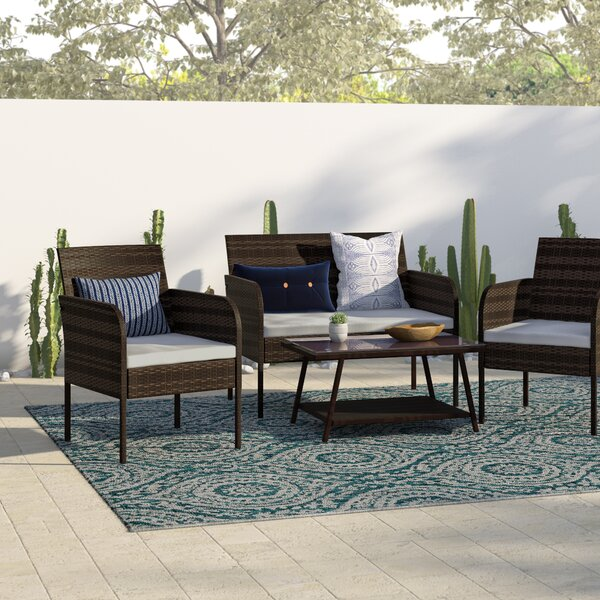Bartholdi 4 Piece Rattan Sofa Set with Cushions by Wrought Studio