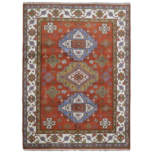 One-of-a-Kind Galen Kazak Hand-Woven Wool Burnt Orange/Blue Area Rug by Bloomsbury Market