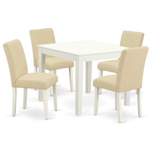 Woollard 5 Piece Solid Wood Dining Set by August Grove August Grove