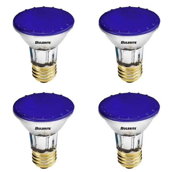 50W E26 Dimmable Halogen Light Bulb Blue (Set of 4) by Bulbrite Industries