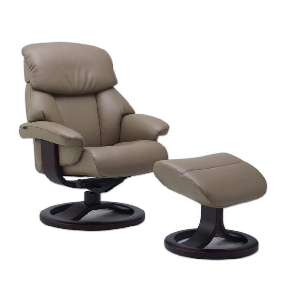 Oquawka Genuine Leather Manual Swivel Recliner with Ottoman W002513003