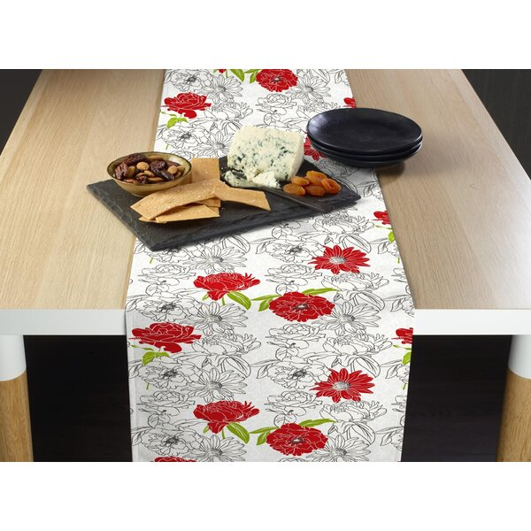 Banner Hand Drawn Flowers Pop Table Runner by House of Hampton