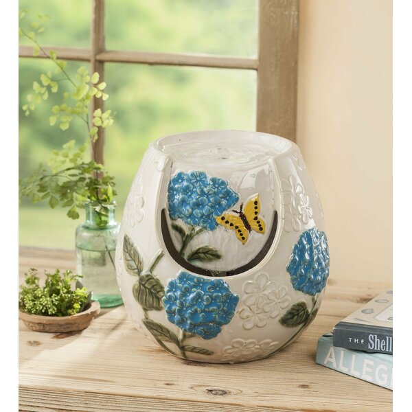 Ceramic Hydrangea Blossom Indoor Fountain by Wind & Weather