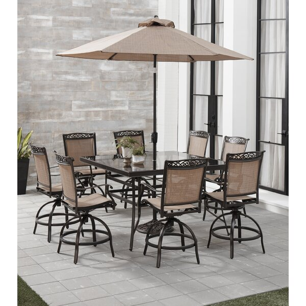 Bucher 9 Piece Counter Height Outdoor Dining Set with Umbrella by Fleur De Lis Living