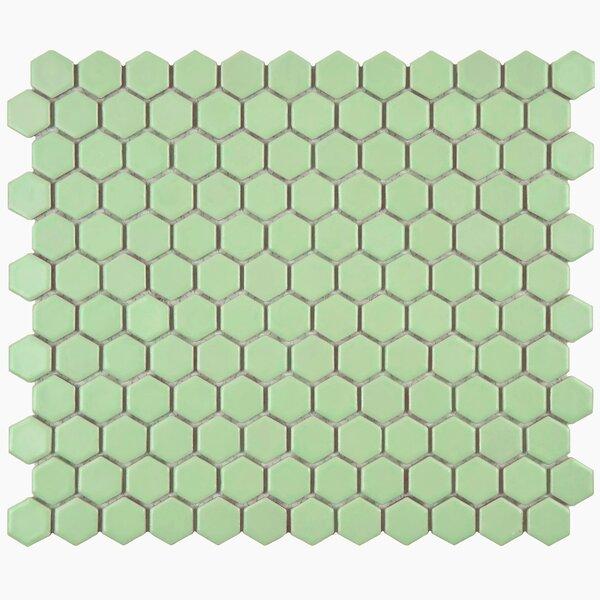 Retro Hexagon 0.875 Lx 0.875 Porcelain Mosaic Tile in Matte Light Green by EliteTile